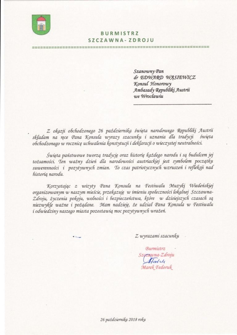 List z okazji Święta Narodowego Austrii