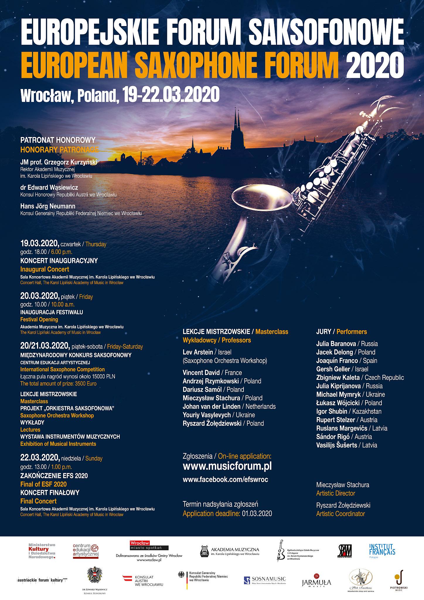 Plakat_Europejskie Forum Saksofonowe 2020_JURY_FB